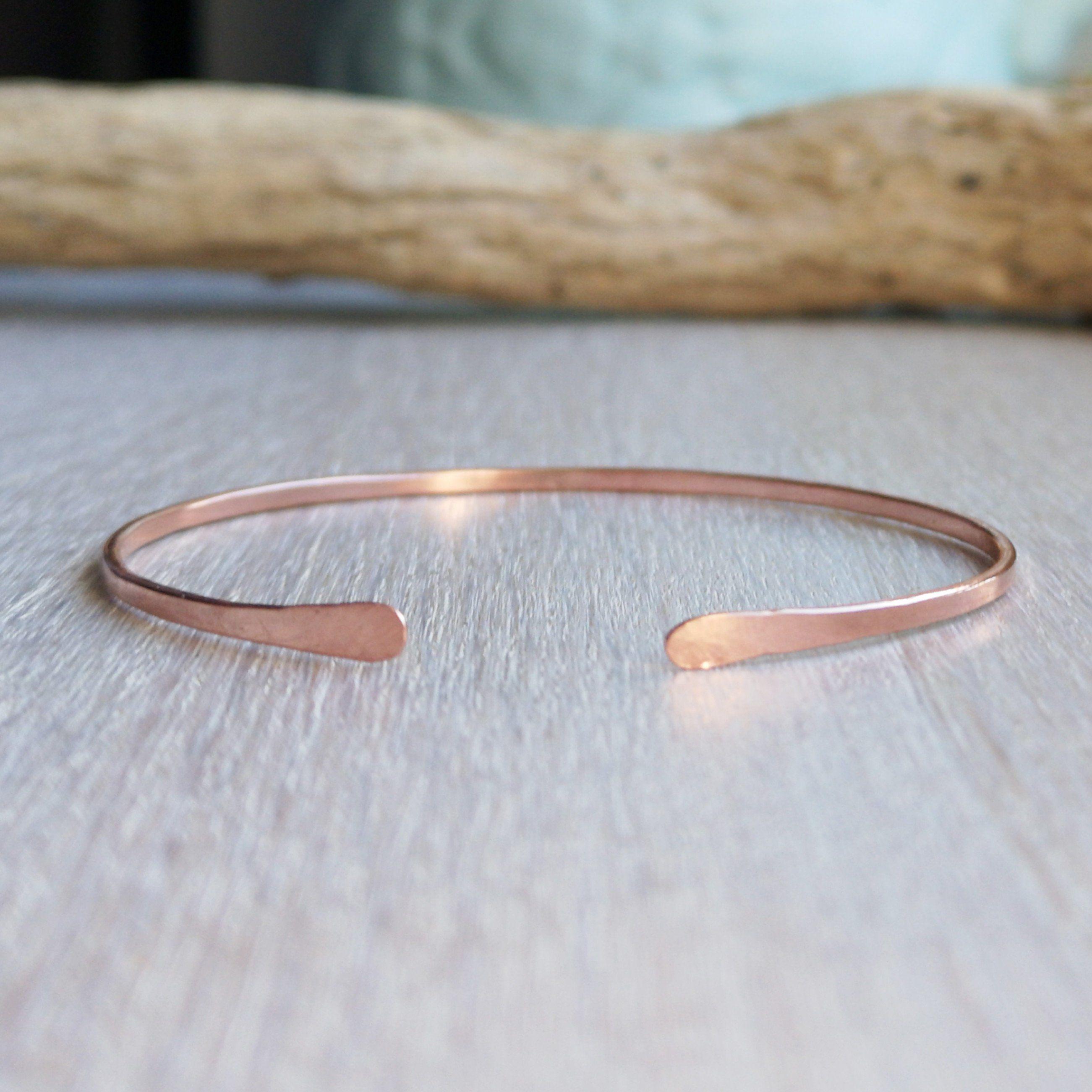 Adjustable copper bangle hammered smooth handmade gift