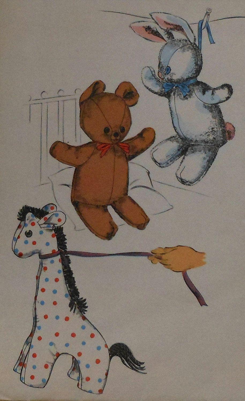 Vintage 50s Stuffed Animal Sewing Pattern Uncut Bunny Rabbit Teddy ...