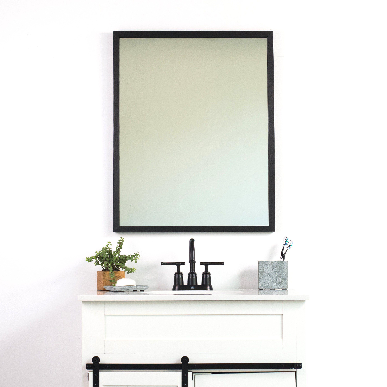 Black bathroom wall mirror thin wall mirror modern