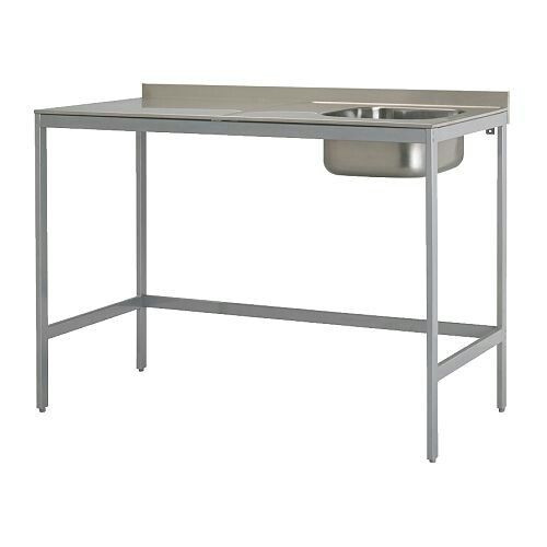 Ikea - stainless steel bench with sink Hanging clothes - udden küche ikea