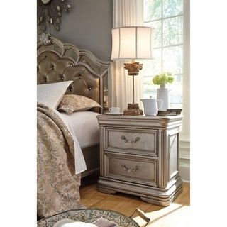 Shop for Signature Design by Ashley Birlanny Silver Two Drawer Night Stand. Get free shipping at Overstock.com - Your Online Furniture Outlet Store! Get 5% in rewards with Club O! - 20862544