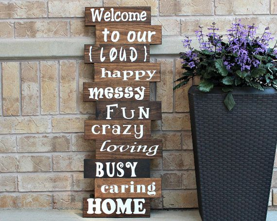 Personalized Welcome Porch Sign Welcome To Our Happy Crazy Etsy Porch Welcome Sign Wood Pallet Signs Pallet Signs Family