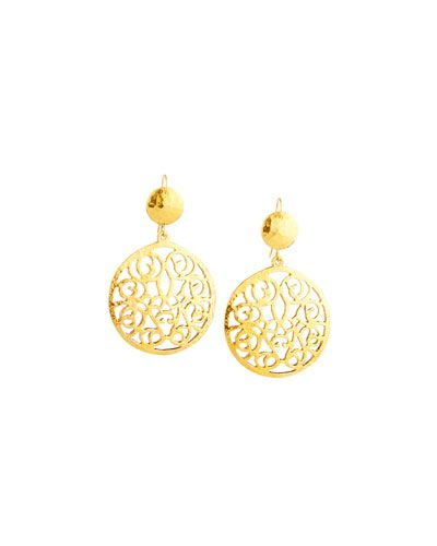 Jose & Maria Barrera Hammered Double Rose Drop Earrings 9G9zsRw7L