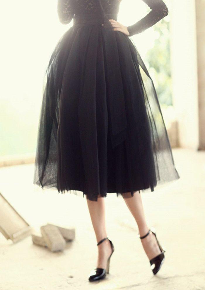 add36dd446e Volume mesh Black Chiffon Net Flared Skirts Pleated Knee Length midi skirts  S M  nobrand  ALine  CasualParty