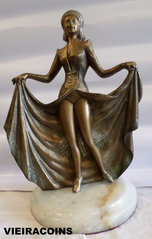 ANTIQUE ART DECO BRONZE STATUE with MARPLE BASE  15.5 inches Height   - #30,016