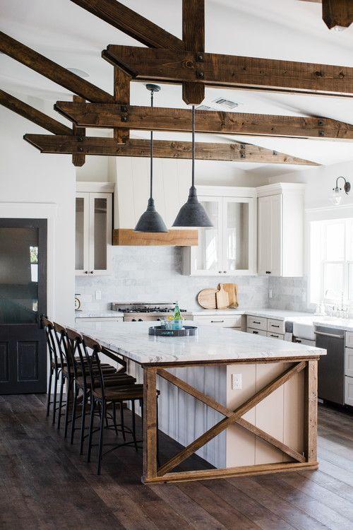 White and Wood Modern Farmhouse Kitchen Ideas - Farmhouse kitchen decor, Farmhouse kitchen design, Modern farmhouse kitchens, Farmhouse style kitchen, Interior design kitchen, Kitchen style - Check out these white and wood modern farmhouse kitchen ideas! Wood always brings warmth and coziness to a white kitchen