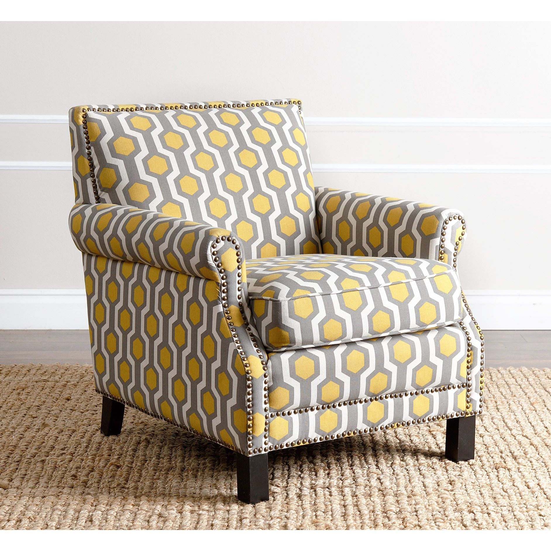 Abbyson Chloe Yellow Fabric Pattern Club Chair With Images