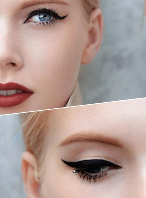 easy and effortless for fall. cat eye and red lips.