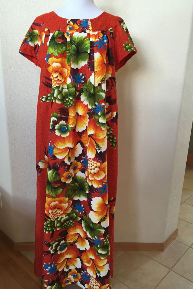 ec534f1fce7c Vintage Penneys Hawaii Long Red Bold Floral Print Dress Bust 43