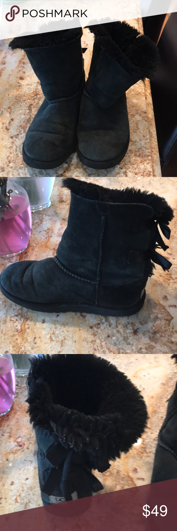 6aa33a5afb7 Ugg kids boots with ribbons on back These boots were gently used and ...