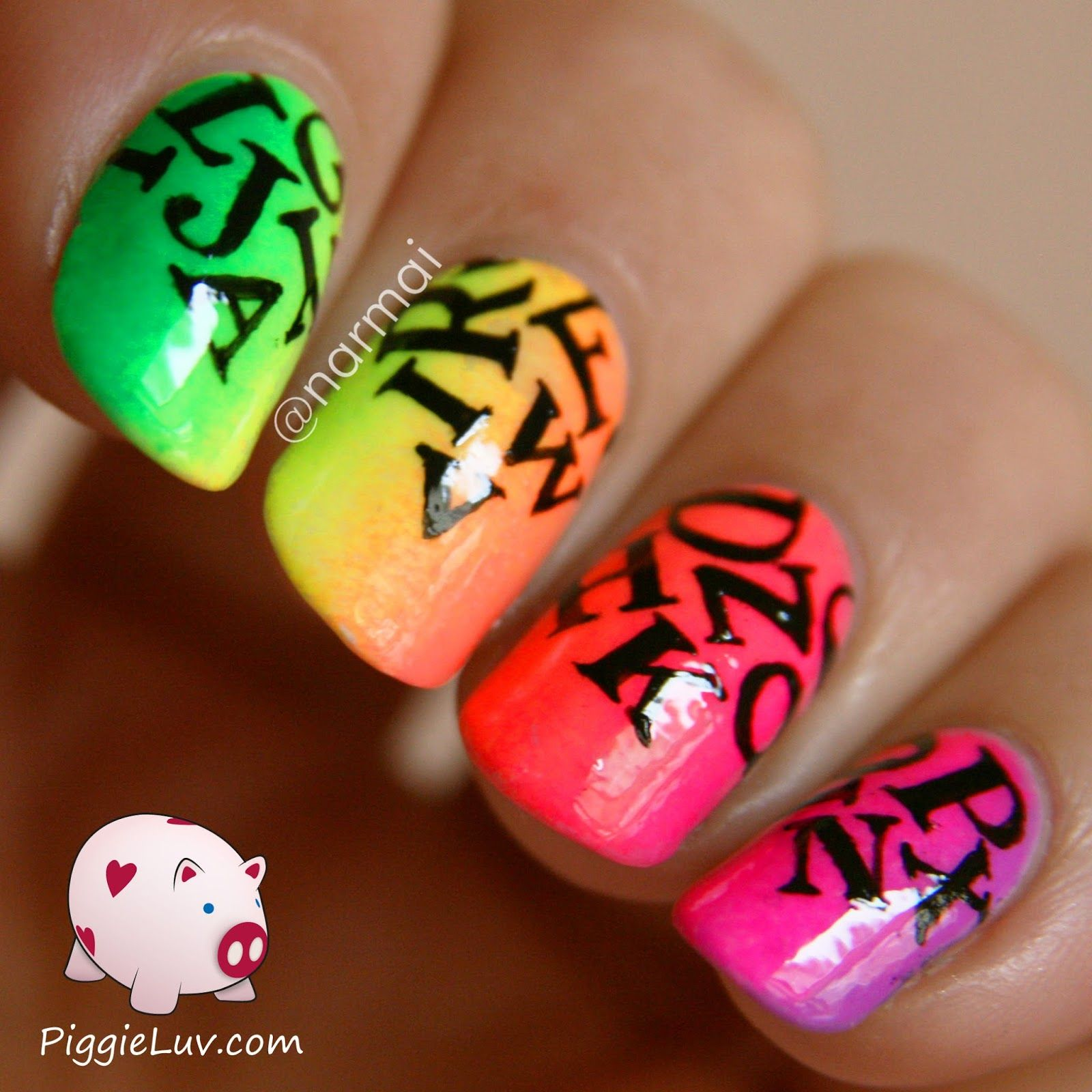 Neon letter rain nail art | Neon nails, Fabulous nails and Creative ...