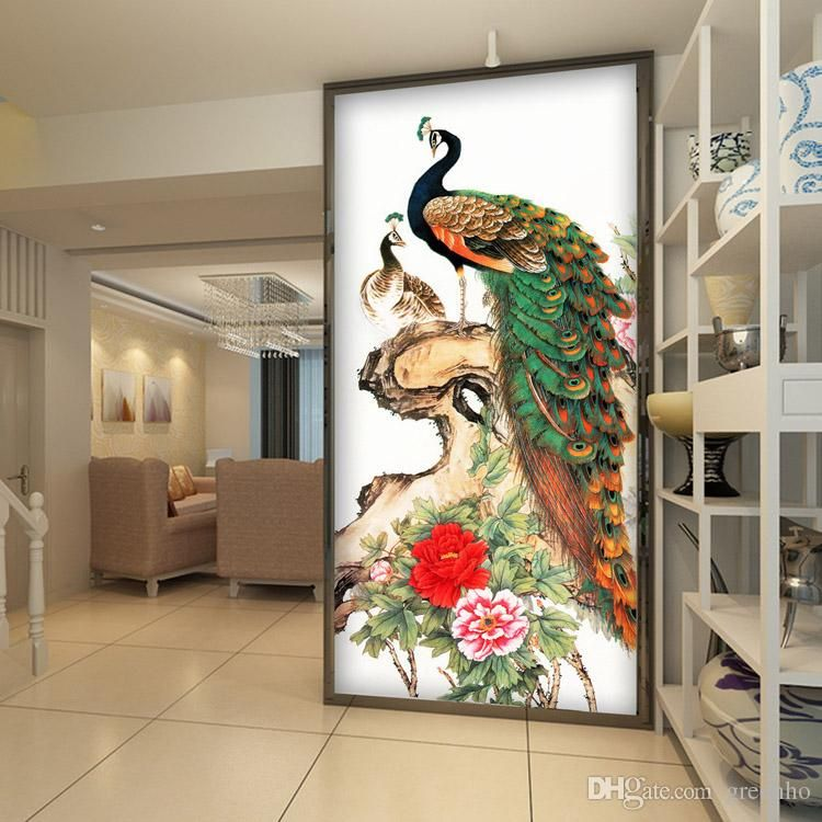 Best Vintage Peacock Wallpaper Peony Flower Wall Mural 3D Photo 640 x 480