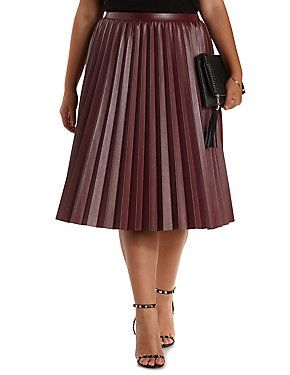 034436dce0b Plus Size Pleated Faux Leather Midi Skirt  Charlotte Russe