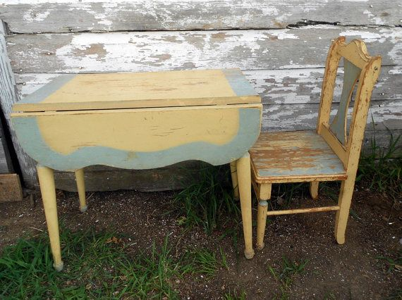 Antique Child S Drop Leaf Table Chair Old Paint Saw Something