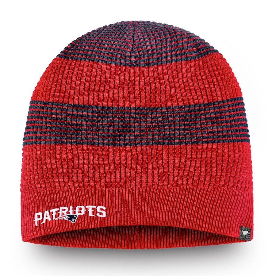 Women s New England Patriots NFL Pro Line by Fanatics Branded Red Waffle Uncuffed  Knit Beanie 92aebef1f