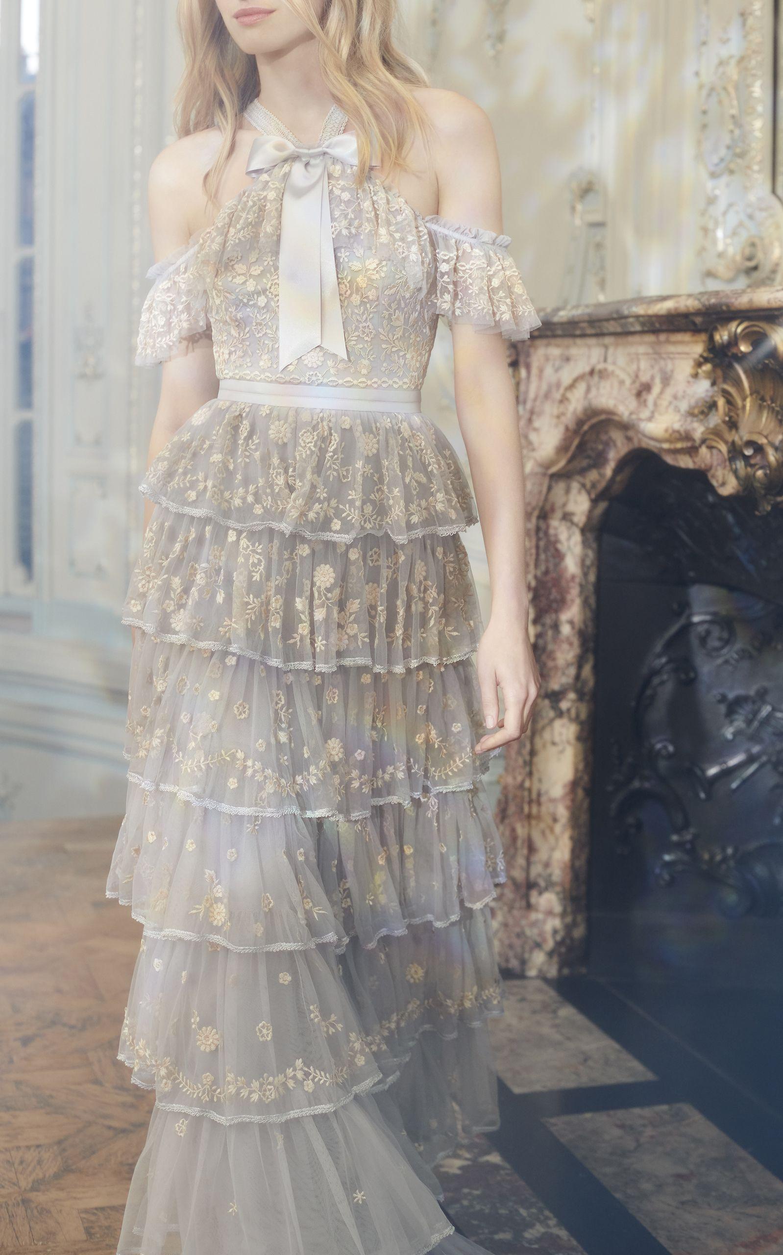 Needle & Thread Zelda Off The Shoulder Embroidered Gown  Hübsche