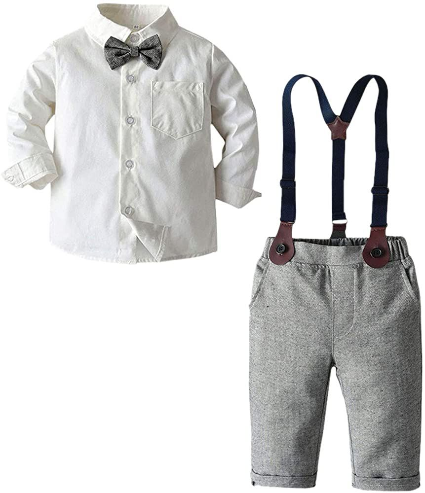 Amazon Com Baby Boys Clothes Long Sleeve Button Down Dress Shirt With Bowtie Suspender Pants For Boy Baby Boy Outfits Boy Outfits Baby Boy Fashion Summer [ 1000 x 861 Pixel ]