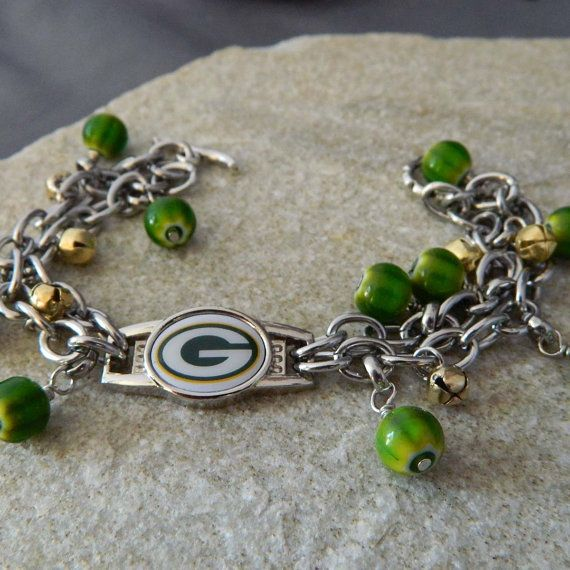 Packer Green and Gold Charm Bracelet by WireNWhimsy on Etsy, $58.00