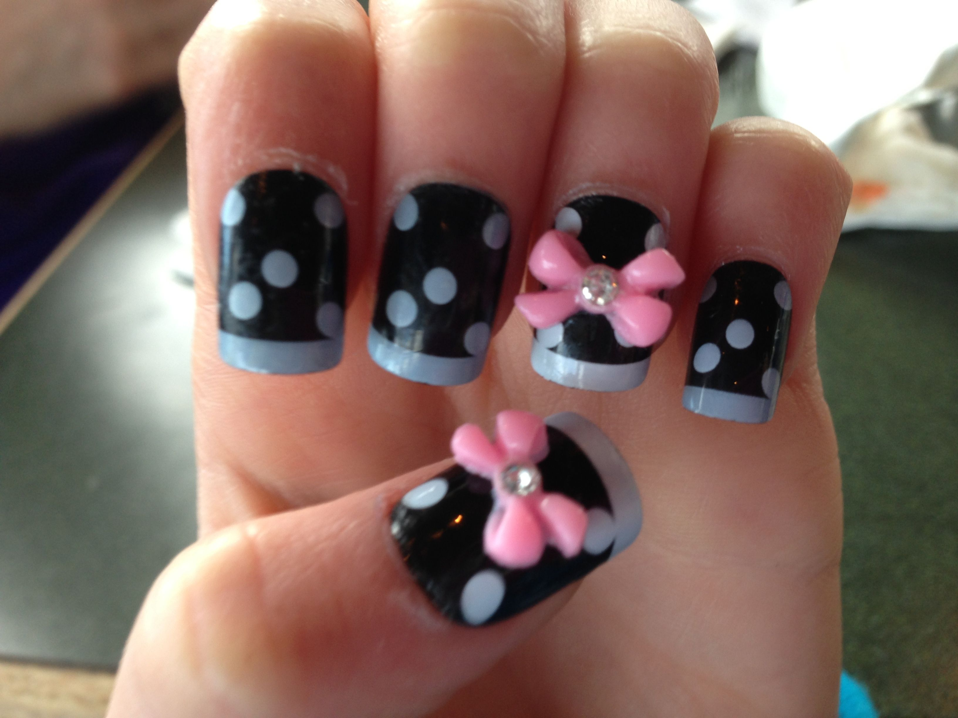 Cute fake nails with 3d bows! I bought it at claires. | Nail art ...