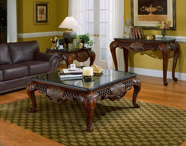 cherry living room coffee table end table sofa table furniture set