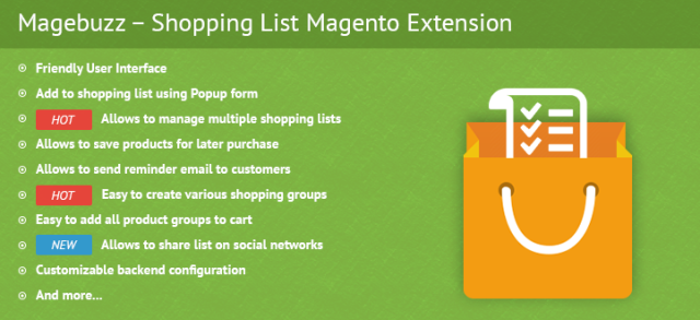 MB – Shopping List Magento Extension is a powerful module that allows customers to create, save, and purchase their most desired products with ease.  https://shoppinglistmagentoextensionmagebuzz.wordpress.com/2015/12/08/shopping-list-magento-extension-magebuzz/