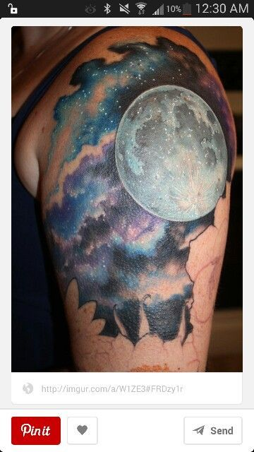 Sky Tattoo Tattoo Ideas Cloud Tattoo Moon Tattoos Full Moon Tattoo Sky Tattoos Night Sky Tattoos Realistic Moon Tattoo