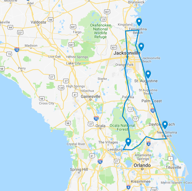 Mt. Dora Florida Map Road Trip Map to see 5 Lighthouses: Mount Dora, Ponce Inlet, St