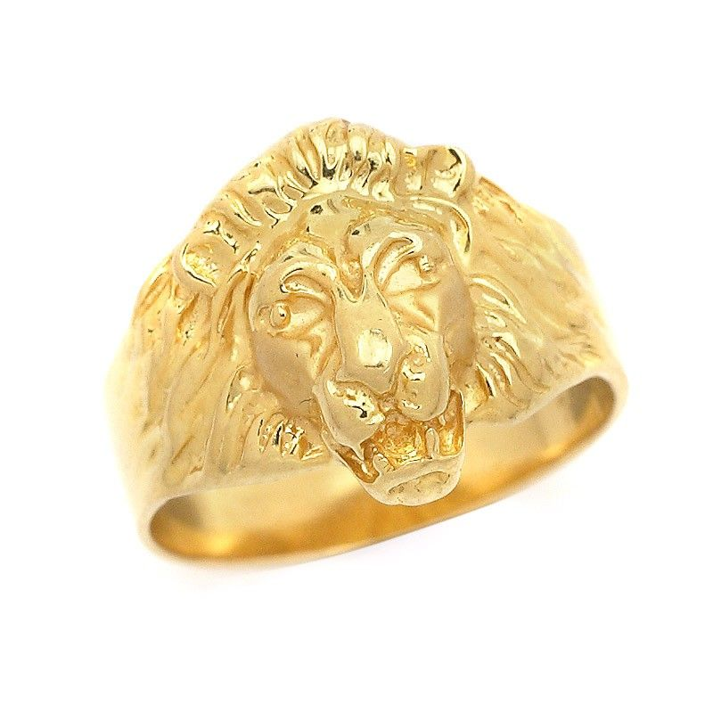 Lion Face Gold Ring Majestic Lion Head Ring 18k Gold Diamond Eyes