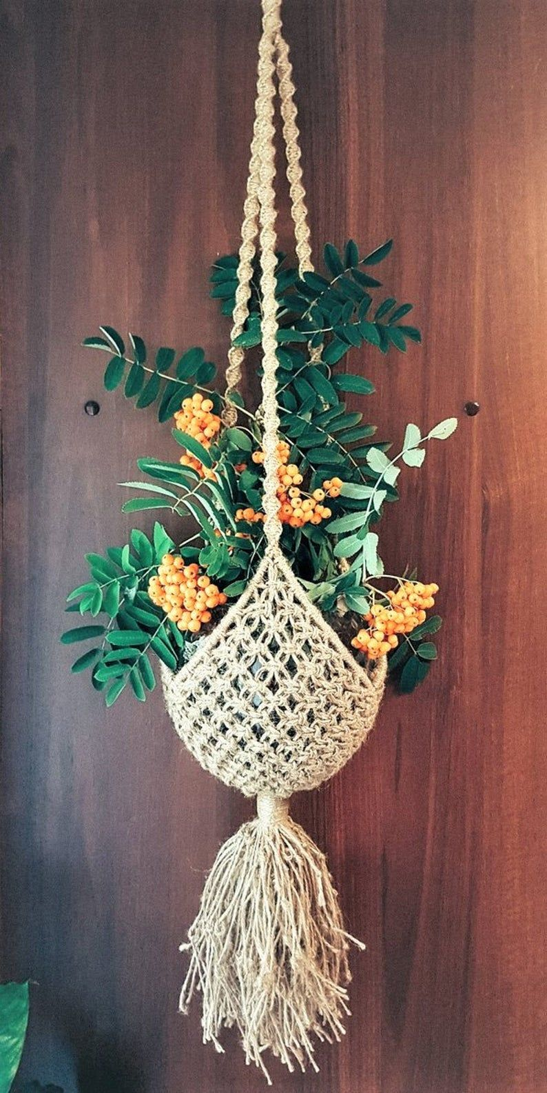 Photo of Macrame plant hanger, Hanging Plant Holder, Rope pot planter, Boho, Handmade, Natural cord, Succulent Planter, indoor, outdoor, Home Decor