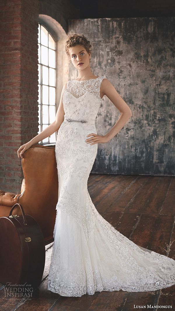 New lusan mandongus wedding dresses scallop bateau illusion lace neckline embroidered slim cut fit flare trumpet