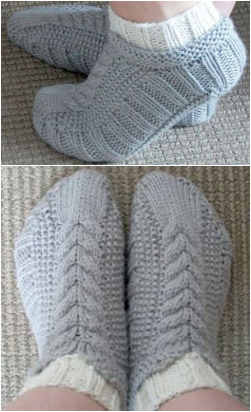 Cabled Cozies Slippers with Free Pattern 20+ #Slipper #Knitting ...