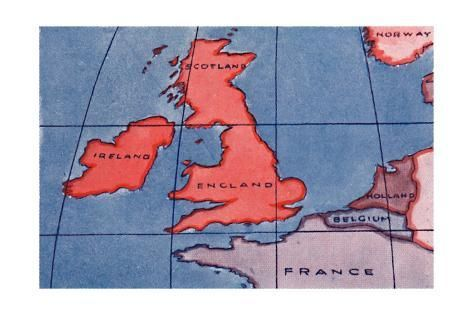 Giclee Print: 'The British Isles and Northern Europe at Noon in spring or Autumn', 1935 : 18x12in #britishisles