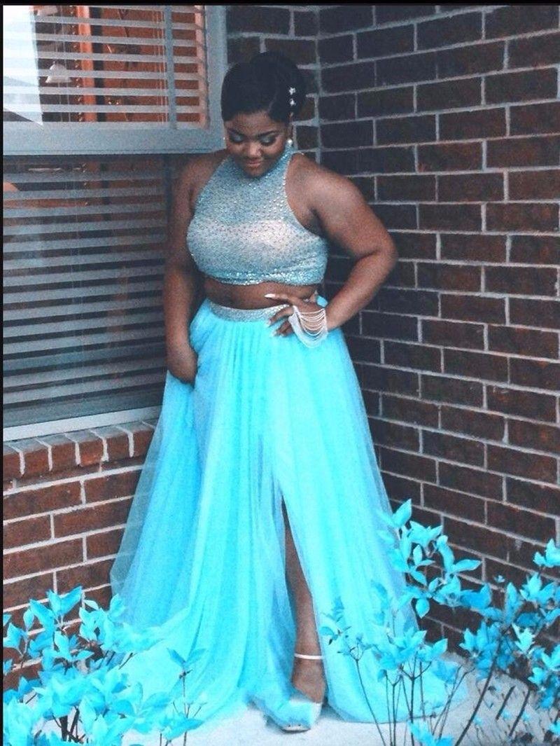 Aqua Blue Two Piece Chiffon Prom Dress With Beaded Bodice Plus Size ...