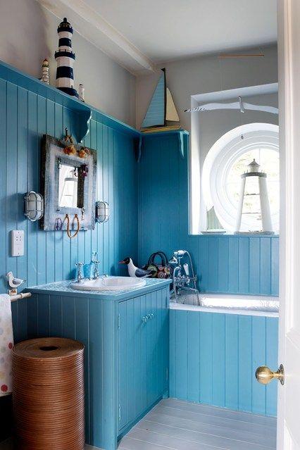 Adorable Nautical Bathroom Decor Ideas With Amusing Window Plus Brown  Curtains Above Cozy Bathtub Near Practice Shelf Beside Walk In Shower  Installed Glass ...