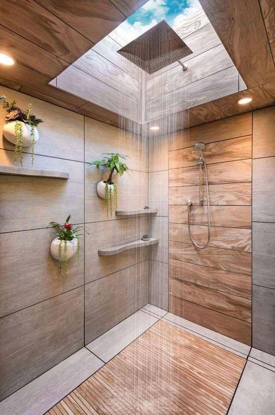 Photo of salle de bain theme nature douche tout en bois carrelage trompe l'oeil puit de lumière