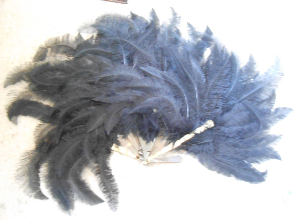 Fan burlesque ostrich feather faux tortoiseshell phenol formaldehyde art deco