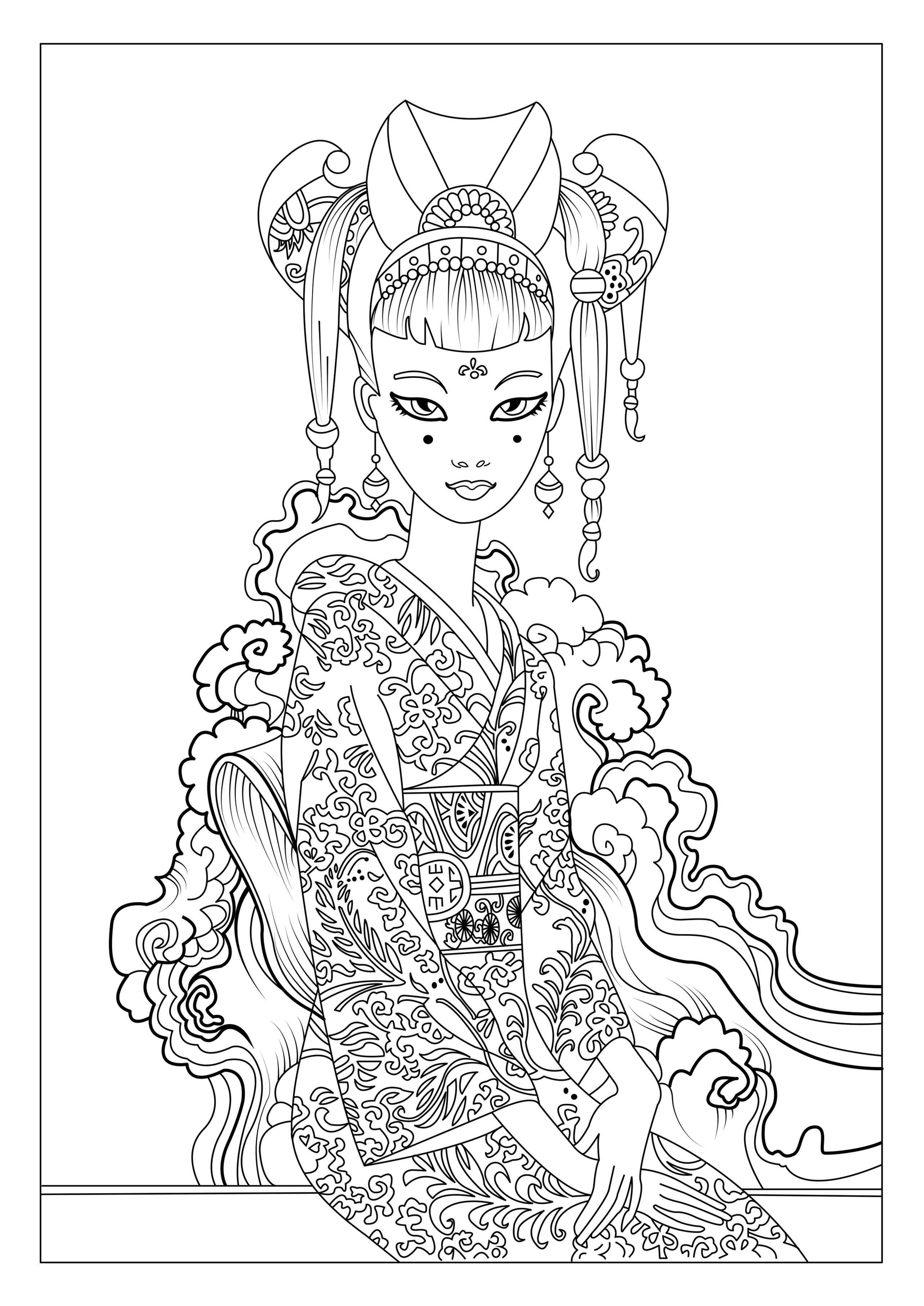 This Is Our Coloring Page With A Japan Woman By Celinefrom The Gallery Japanartist Celine
