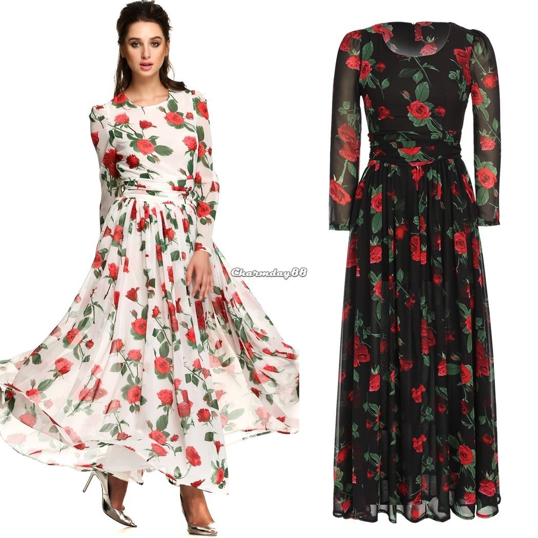 Women fashion print casual long sleeve chiffon maxi pleated dress cmy