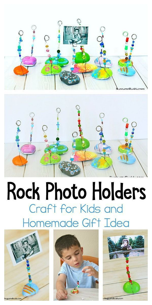 Painted Rock Photo Holder Craft für Kinder - Buggy und Buddy