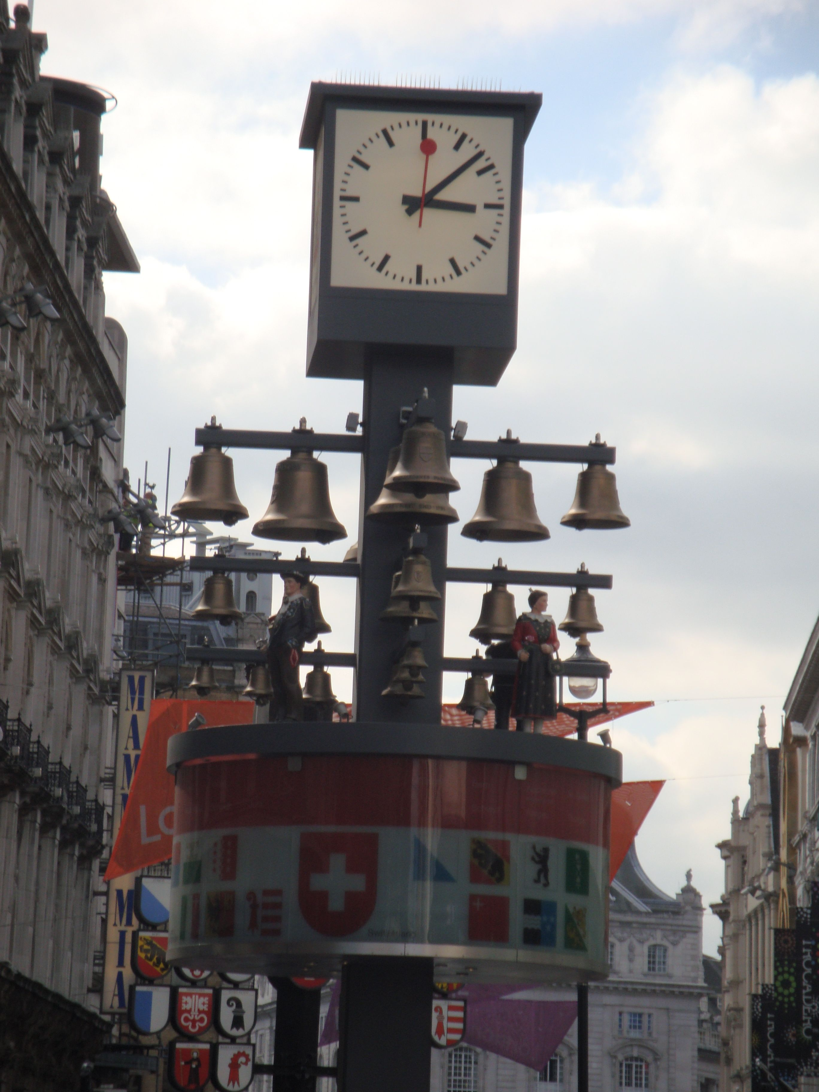 Swiss Chime Clock Leicester Square London England Clocks Recording Time Big