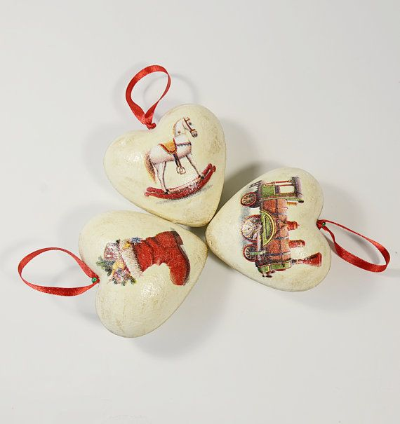 Nice Set Of Three Christmas Holiday Decoupage Ornaments Hearts / Vintage Style  Christmas Home Decor / Vintage
