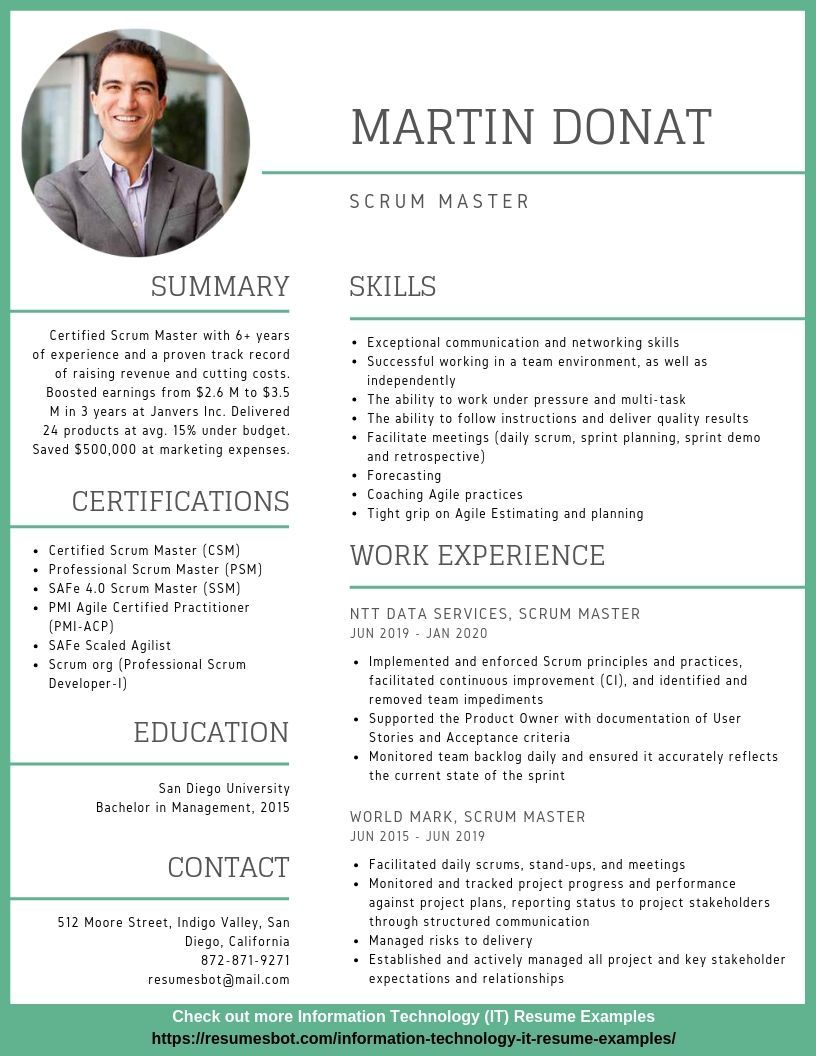 Scrum Master Resume Examples New Scrum Master Resume