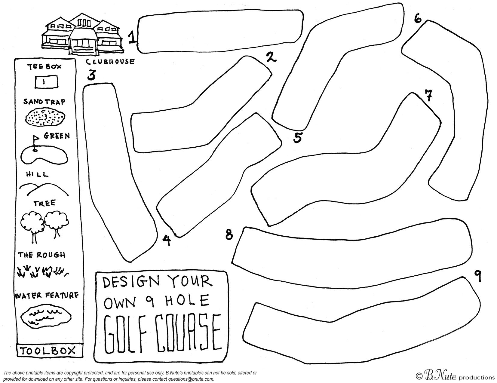 Free Printable Design Your Own 9 Hole Golf Course 9 Hole Golf