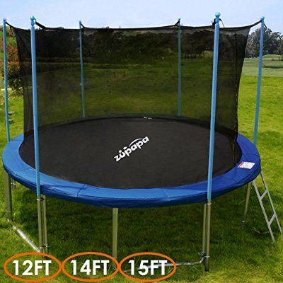 Zupapa 15 Ft Tuv Approved Trampoline With Pole And Enclosure Net Safety Pad Ladder Jumping Mat Cover 10 With Images Trampoline Backyard Trampoline Kids Trampoline