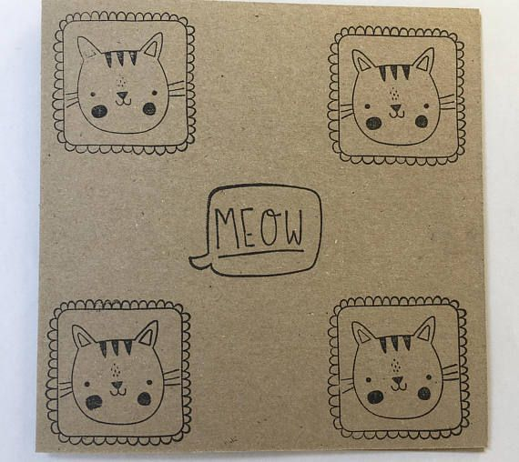 Cat Lovers Card Funny Hand Stamped Print