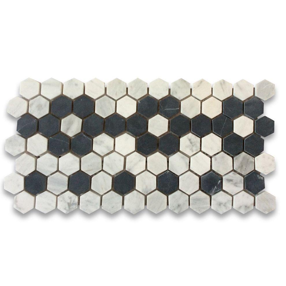 Carrara White 1 Inch Hexagon Mosaic Border Flower Pattern Tile Honed Hexagonal Mosaic Hexagon Mosaic Tile Shell Mosaic Tile