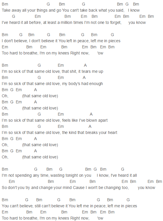 Selena Gomez - Same Old Love Chords | Guitar | Pinterest | Selena ...