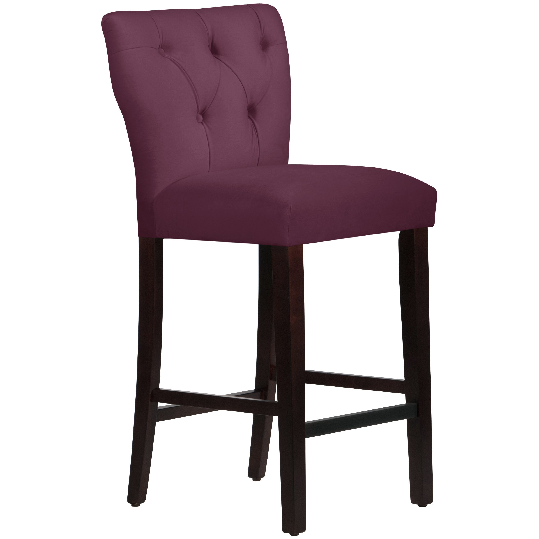 Skyline Furniture Premier Purple Polyester Hardwood Tufted Hourgl Bar Stool Fabric
