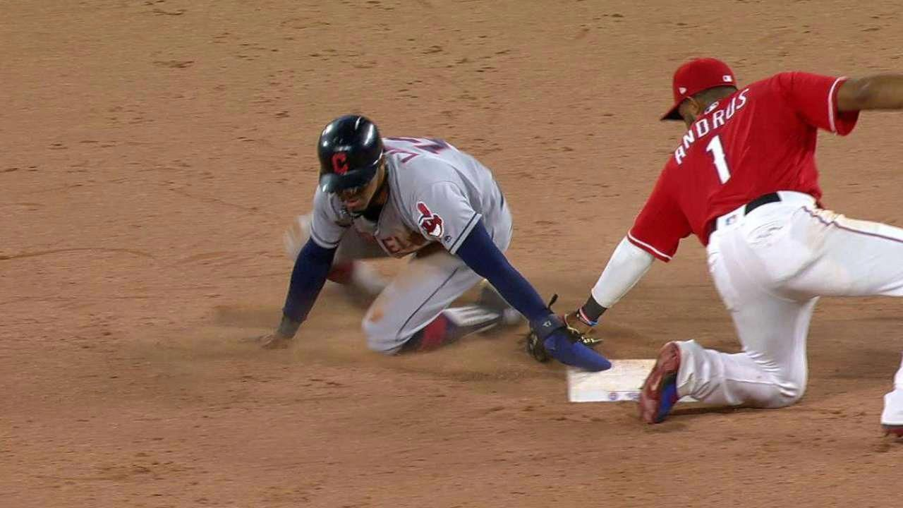 Video Cleveland Indians Francisco Lindor Steals Second Base In The Top Of The 8th Inning And The Call Is Confirmed Af Cleveland Indians Lindor Texas Rangers