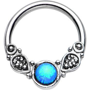 Blue Opal Tribal Fantasy Captive Ring